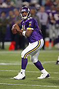 MINNEAPOLIS - NOVEMBER 21:  Quarterback Daunte Culpepper #11 of the Minnesota Vikings looks downfield against the Detroit Lions at the Hubert H. Humphrey Metrodome on November 21, 2004 in Minneapolis, Minnesota. The Vikings defeated the Lions 22-19. ©Paul Anthony Spinelli  *** Local Caption *** Daunte Culpepper