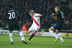 SOUTHAMPTON, ENGLAND - Saturday, January 29, 2011: Southampton's Lee Barnard see his shot blocked during the FA Cup 4th Round match at St. Mary's Stadium. (Photo by Gareth Davies/Propaganda)