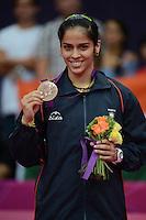 Saina Nehwal, India, Wins Bronze against Wang Xin China, Olympic Badminton London Wembley 2012