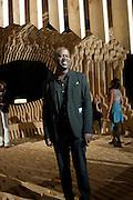 DESIGN MIAMI'S DESIGNER OF THE YEAR ARCHITECT DAVID ADJAYE WITH HIS PAVILION 'GENESIS'. , Opening of the Design Fair. Miami Art Basel 2011, Miami Beach. 29 November 2011.