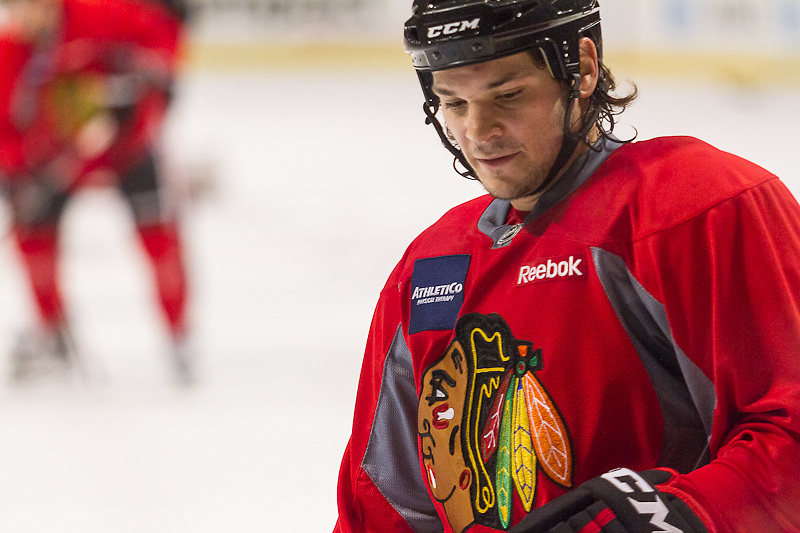 "Chicago Blackhawk Daniel ""Carbomb"" Carcillo practicing at the United Center, December 29, 2011."