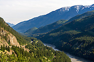 The Fraser River flows through the Fraser Canyon south of Lytton, British Columbia, Canada