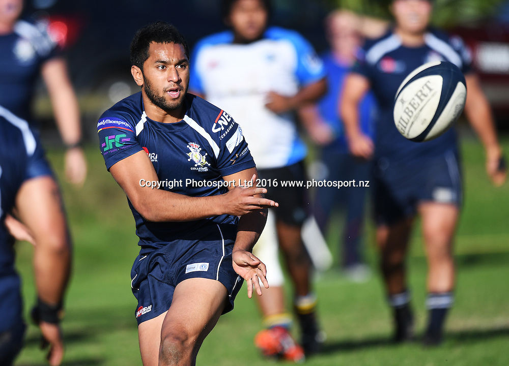 Rocky Khan in action for College Rifles. Auckland Club Rugby. Alan McEvoy Memorial Shield - Grammar TEC v College Rifles, Orakei Domain. Saturday 11 June 2016. © Copyright Photo: Andrew Cornaga / www.Photosport.nz