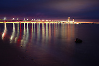 The lights of the Mighty Mackinac Bridge shortly after sunset, Mackinaw City, Michigan