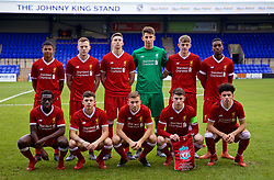 BIRKENHEAD, ENGLAND - Wednesday, December 6, 2017: Liverpool's players line-up for a team group photograph before the UEFA Youth League Group E match between Liverpool FC and FC Spartak Moscow at Prenton Park. Back row L-R: Rhian Brewster, George Johnston, Conor Masterson, goalkeeper Kamil Grabara, Thomas Clayton, Rafael Camacho. Front row L-R: Bobby Adekanye, Adam Lewis, Herbie Kane, captain Ben Woodburn, Curtis Jones. (Pic by David Rawcliffe/Propaganda)