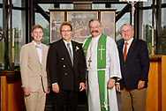 Group photograph of (L-R) Tim Goeglein, vice-president for External Relations at Focus on the Family in Washington, D.C., the Rev. Dr. Gregory P. Seltz, executive director of the Lutheran Center for Religious Liberty, the Rev. Dr. Matthew Harrison, LCMS president, and the Rev. Dr. Dean O. Wenthe, president of the Concordia University System, at the International Center of The Lutheran Church–Missouri Synod on Tuesday, Aug. 22, 2017, in St. Louis. LCMS Communications/Erik M. Lunsford