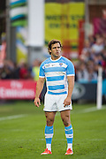 Gloucester, Great Britain, Argentina's Nicolas SANCHEZ, kicking,    during the Argentina vs Georgia, Pool C. game. 2015 Rugby World Cup, Venue. Kingsholm Stadium. England, Friday - 25/09/2015 <br /> [Mandatory Credit; Peter Spurrier/Intersport-images]