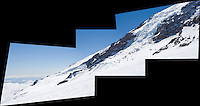 A pieced together panorama of the Nisqually glacier on the south side of Mt Rainier as seen from the Muir snowfield.  United States, Washington.
