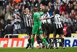 NEWCASTLE, ENGLAND - Saturday, December 11, 2010: Newcastle United's Andy Carroll celebrates scoring his side's third goal against Liverpool during the Premiership match at St James' Park. (Photo by: David Rawcliffe/Propaganda)