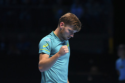 November 19, 2017 - London, England, United Kingdom - Belgium's David Goffin plays against Bulgaria's Grigor Dimitrov during their men's singles final match on day eight of the ATP World Tour Finals tennis tournament at the O2 Arena in London on November 19, 2017. (Credit Image: © Alberto Pezzali/NurPhoto via ZUMA Press)