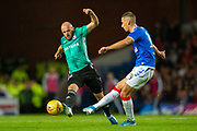 Valerian Gvilia (#8) of Legia Warsaw tries to cut off a pass from Nikola Katic (#19) of Rangers FC during the Europa League Play Off leg 2 of 2 match between Rangers FC and Legia Warsaw at Ibrox Stadium, Glasgow, Scotland on 29 August 2019.