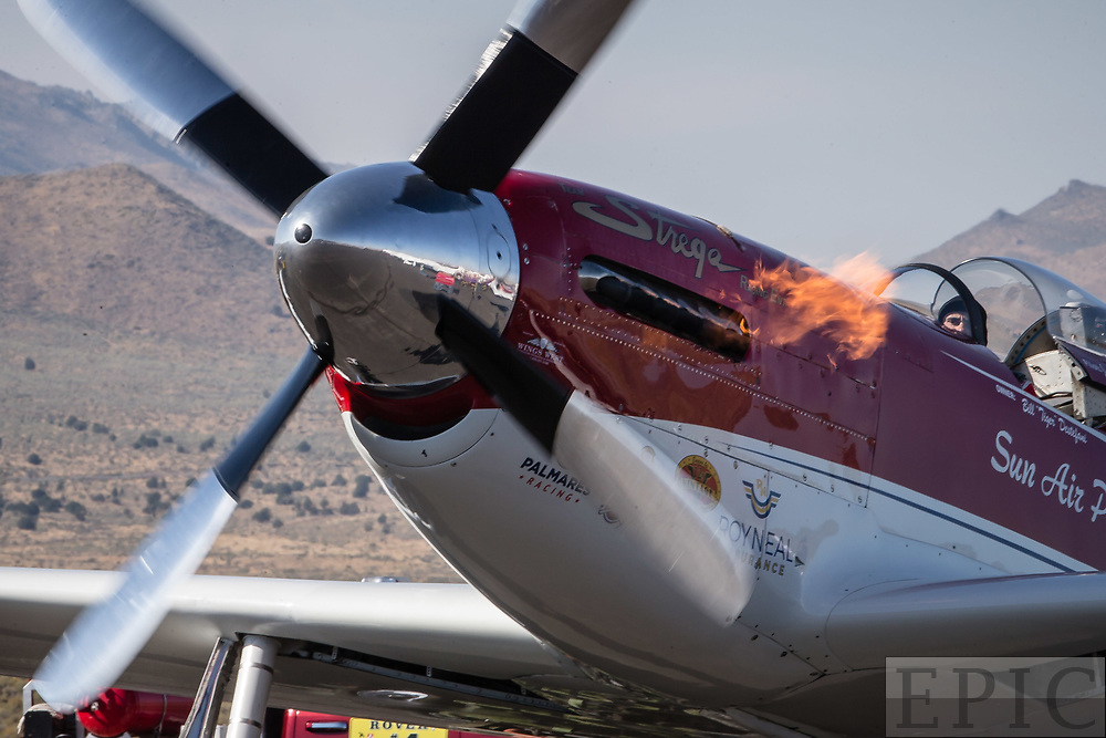 RENO, NV - SEPTEMBER 17: Unlimited gold class winning plane named Strega flames up during ignition at the Reno Championship Air Races on September 17, 2017 in Reno, Nevada. (Photo by Jonathan Devich/Getty Images) *** Local Caption ***