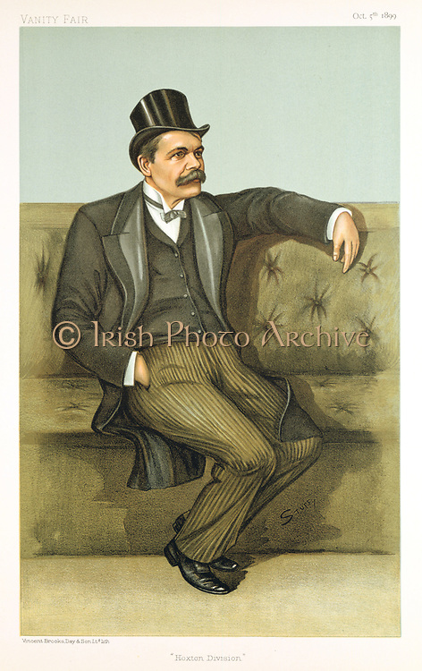 James Stuart (b1843)  scientist, journalist, supporter of women's suffrage, radical politician. Member of Parliament for Hoxton. Cartoon from 'Vanity Fair', London, 5 October 1899. Chromolithograph.