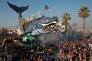 """During the parade on the waterfront socallled """"paseggiata"""". Allegorical carriages.The whale, with clear reference to the problem of pollution of the seas"""
