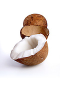 Close-up of coconuts on white background