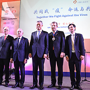 Speaker Lord Sassoon, Richard Burn ,H.E. LIU Xiaoming, Alderman William Russell and FANG Wenjian at China-UK United We Stand together to fights the #Covid19 at Guildhall, on 28th February 2020, London, UK.