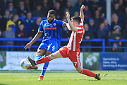 Ethan Ebanks-Landell clears under pressure during the EFL Sky Bet League 1 match between Rochdale and Sunderland at Spotland, Rochdale, England on 6 April 2019.