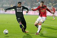 (L-R) Darryl Lachman of Willem II, Wout Weghorst of AZ Alkmaar