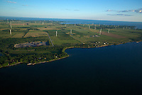 Aerial view of the Wolfe Island Wind Project and farms on Wolfe Island, near Kingston, Ontario, Canada.