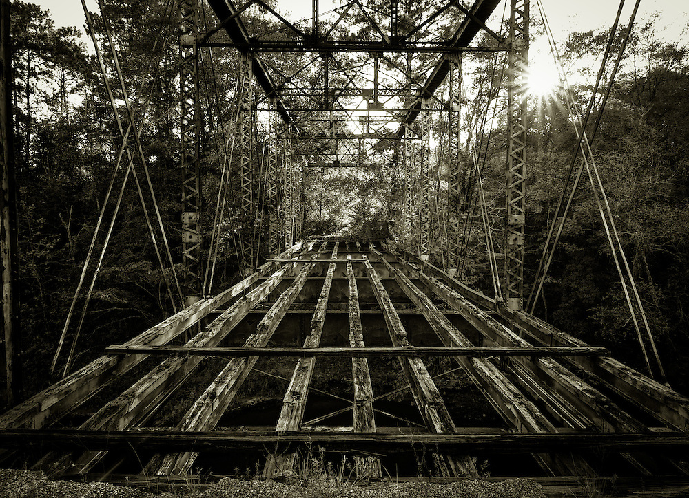 Lower Iron Bridge<br /> Abandoned pratt through truss bridge over Choctawhatchee River on an abandoned section of Co Rd 421<br /> Dale County, AL