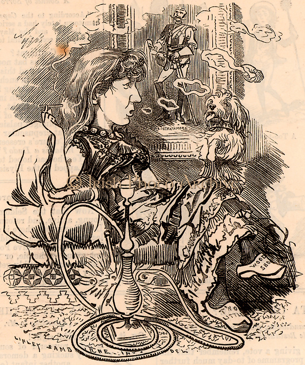 Ouida (1839-1908) pen name of Maria Louise Rame, English novelist born at Bury St Edmunds, Suffolk. Prolific romantic novelist and believer in animal rights.  Among her titles were 'Two Little Wooden Shoes' (1874) and 'A Dog of Flanders' (1872).   Cartoon by Edward Linley Sambourne in the Punch's Fancy Portraits series from 'Punch' (London, 20 August 1881).