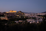 View of the Acropolis from the Filopappou Hill (Hill  of the Muses) in Athens, Greece.