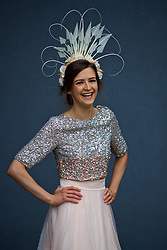 LIVERPOOL, ENGLAND - Thursday, April 6, 2017: Nicola Magee, 26 from County Down, Ireland, wearing a dress from Coast, during The Opening Day on Day One of the Aintree Grand National Festival 2017 at Aintree Racecourse. (Pic by David Rawcliffe/Propaganda)