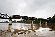 Eastern & Oriental Express crossing the River Kwai Bridge.