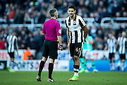 Newcastle United forward Aleksandar Mitrovic (#45) in conversation with the referee during the EFL Sky Bet Championship match between Newcastle United and Derby County at St. James's Park, Newcastle, England on 4 February 2017. Photo by Craig Doyle.