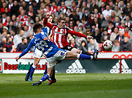 John Fleck of Sheffield Utd  in a action with Joe Rowley of Chesterfield during the English League One match at  Bramall Lane Stadium, Sheffield. Picture date: April 30th 2017. Pic credit should read: Simon Bellis/Sportimage