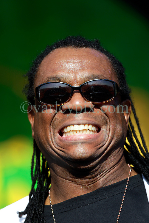 30 April 2015. New Orleans, Louisiana.<br /> The New Orleans Jazz and Heritage Festival. <br /> AJ Brown of legendary Reggae band Third World plays the Congo Square stage.<br /> Photo; Charlie Varley/varleypix.com