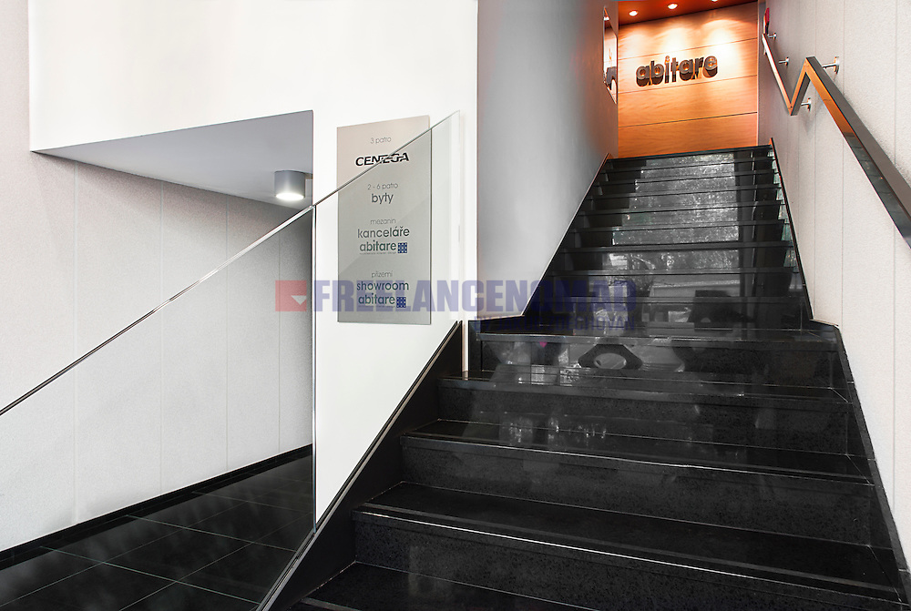 Granite stairs and flooring slabs in Abitare Praha office entrance