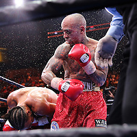 Luis Collazo (R) hits Keith Thurman during their Premier Boxing Champions boxing match for the WBA Welterweight title on ESPN at the USF Sun Dome, on Saturday, July 11, 2015 in Tampa, Florida.  Thurman won the bout when the corner of Collazo stopped the fight at the beginning of the eighth round. (AP Photo/Alex Menendez)