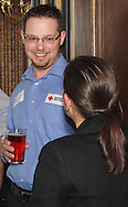Nick Gill of the American Red Cross Dayton Chapter (left) and Elise Huelskamp of Miami Valley Hospital during a Generation Dayton estate planning meeting at the Dayton Racquet Club in downtown Dayton, Tuesday, March 27, 2012.