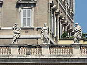 Architectural detail at the Papal Apartments in Saint Peter's Square in the Vatican City, Italy. The actual square was designed by Gian Lorenzo Bernini.