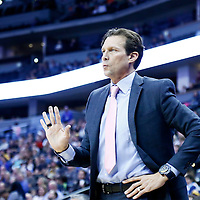 20 November 2016: Utah Jazz head coach Quin Snyder is seen during the Denver Nuggets 105-91 victory over the Utah Jazz, at the Pepsi Center, Denver, Colorado, USA.
