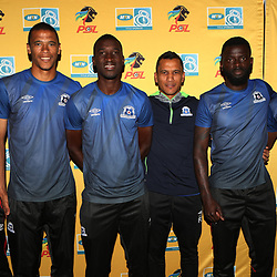 Evans Rusike with Bevan Fransman ,Brian Onyango, Fadlu Davids (Head Coach) of Maritzburg Utd , Denis-Danso Weidlich ,and Fortune Makaringe of Maritzburg Utd during the MTN8 semi-final 2nd-leg Press Conference with the Head Coach and Selected players United,Harry Gwala Stadium in  Pietermaritzburg. 7th September -2017 (Photo by Steve Haag)