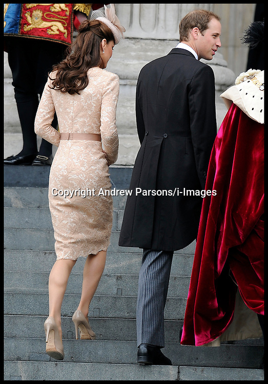Prince William and the Duchess of Cambridge arrive at St Pauls Cathedral for the National Service of Thanksgiving celebrating the Queens Diamond Jubilee Tuesday June 5, 2012. Photo By Andrew Parsons/i-Images