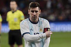 March 22, 2019 - Madrid, Spain - Argentina's Leo Messi warms during International Adidas Cup match between Argentina and Venezuela at Wanda Metropolitano Stadium. (Credit Image: © Legan P. Mace/SOPA Images via ZUMA Wire)