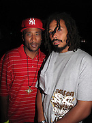 l to r: Lord Jamar and Bazaar Royale at Celebrate Brooklyn in conjunction with The Lyricist Lounge held at The Brooklyn Bandshell in Prospect Park Brooklyn on August 8, 2009