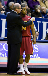 January 9, 2010; Berkeley, CA, USA;  Southern California Trojans head coach Kevin O'Neill talks to guard Donte Smith (14) during the first half at the Haas Pavilion.  California defeated USC 67-59.