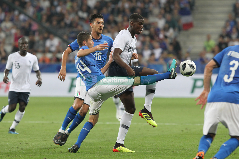 June 1, 2018 - Paris, Ile-de-France, France - Jorginho (Italy) and Paul Pogba (France) competes for the ball during the friendly football match between France and Italy at Allianz Riviera stadium on June 01, 2018 in Nice, France..France won 3-1 over Italy. (Credit Image: © Massimiliano Ferraro/NurPhoto via ZUMA Press)