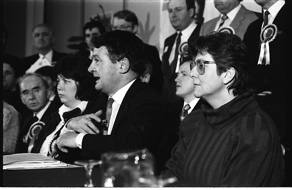 P.Ds Pre Election Press Conference. (R48)..1987..21.01.1987..01.21.1987..21st January 1987..In advance of the forthcoming General Election,The Progressive Democrat Party Launched its election manifesto. The press conference, under the auspices of party leader Des O'Malley was held at the Burlington Hotel,Dublin...Image shows Mr Des O'Malley TD launching the PD manifesto in the Burlington Hotel, he is surrounded by the party's candidates in the forthcoming General Election.