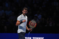 November 17, 2017 - London, England, United Kingdom - Grigor Dimitrov of Bulgaria wins his Singles match against Pablo Carreno Busta of Spain on day six of Nitto ATP World Tour Finals at the O2 Arena. (Credit Image: © Alberto Pezzali/NurPhoto via ZUMA Press)