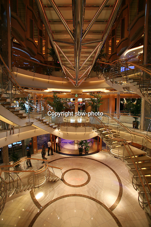 Royal Caribbean International's  Independence of the Seas, the world?s largest cruise ship. ..Interior and exterior features photos...Glass walkway *** Local Caption *** Glass walkway