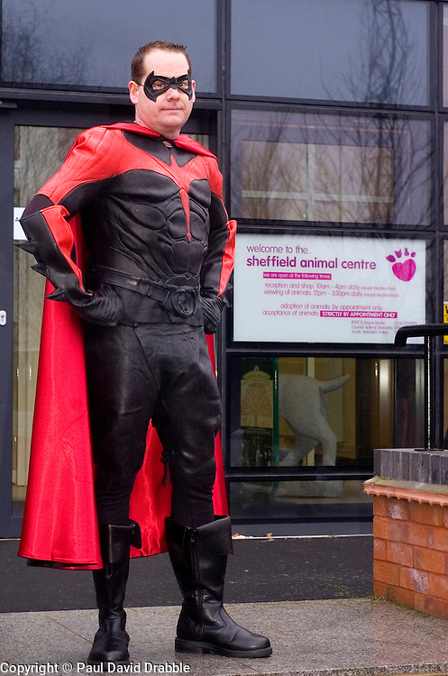 Batman's crime fighting partner Robin has now joined the drive to help South Yorkshire charities and good causes with his first appearance in the area at the new Sheffield RSPCA centre on Stadium Way Attercliffe. The visit  by super heros Batman & Robin today (9 January 2009) was  to donate cash and food for the animals. .© Paul David Drabble.