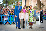 27-3-2016 - PALMA DE MALLORCA -, princess Sofia, Prince Felipe, Queen Letizia, Princess Leonor, Princess Sofia attend the eastern mass at the cathedral in Palma de Mallorca, 27 march 2016. COPYRIGHT ROBIN UTRECHT<br /> eastern mass mis pasen paas spaanse spain spanje palma de mallorca princess prinses leonor sofia king koning juan carlos koningin queen sofia princess prinses letizia elena prince prins felipe