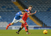Portsmouth striker Conor Chaplin takes on the Leyton Orient defence during the Sky Bet League 2 match between Portsmouth and Leyton Orient at Fratton Park, Portsmouth, England on 6 February 2016. Photo by Adam Rivers.