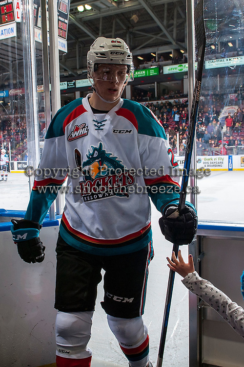 KELOWNA, CANADA - JANUARY 3: Braydyn Chizen #22 of the Kelowna Rockets exits the ice against the Tri-City Americans on January 3, 2017 at Prospera Place in Kelowna, British Columbia, Canada.  (Photo by Marissa Baecker/Shoot the Breeze)  *** Local Caption ***