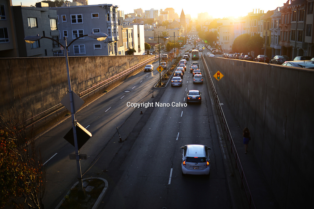 Traffic at sunset in San Francisco.